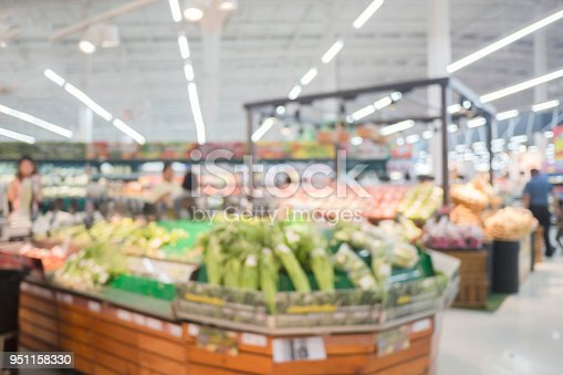 1072974214 istock photo Abstract blur supermarket and retail store in shopping mall for background. Department of Fruits and Vegetables