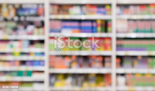 927641110 istock photo Abstract blur supermarket discount store product shelves interior defocused background 926078638