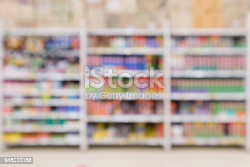 927641110 istock photo Abstract blur supermarket discount store product shelves interior defocused background 945023158