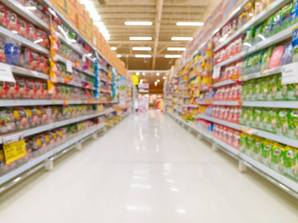Abstract blur supermarket for background Abstract blur supermarket for background aisle stock pictures, royalty-free photos & images