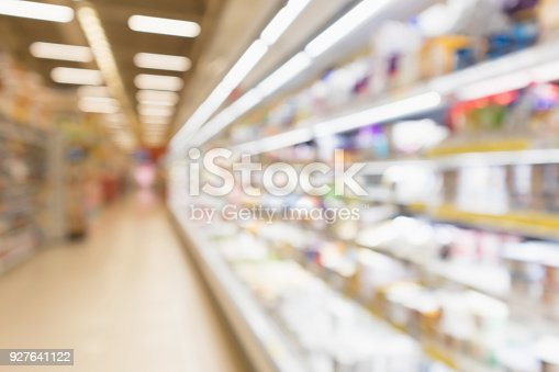 922721264 istock photo Abstract blur supermarket grocery store refrigerator shelves with fresh milk bottles and dairy products 927641122