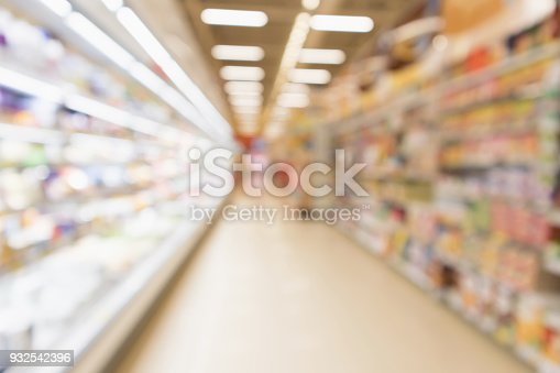 922721264 istock photo Abstract blur supermarket grocery store refrigerator shelves with fresh milk bottles and dairy products 932542396