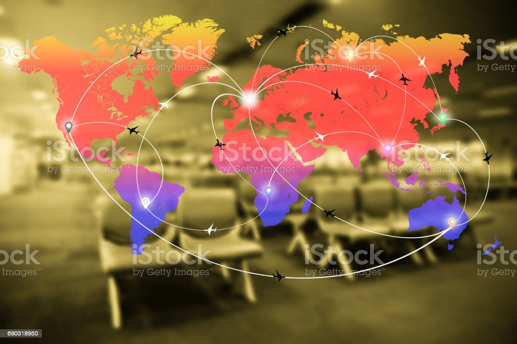 Abstract blurred airport terminal interior with world map of flight routes airplanes network. Global travel,logistics network concept. stock photo