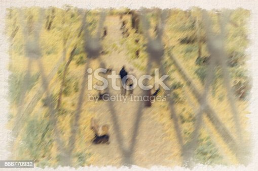 istock Abstract blurred autumn background in vintage style with romantic couple out of focus 866770932