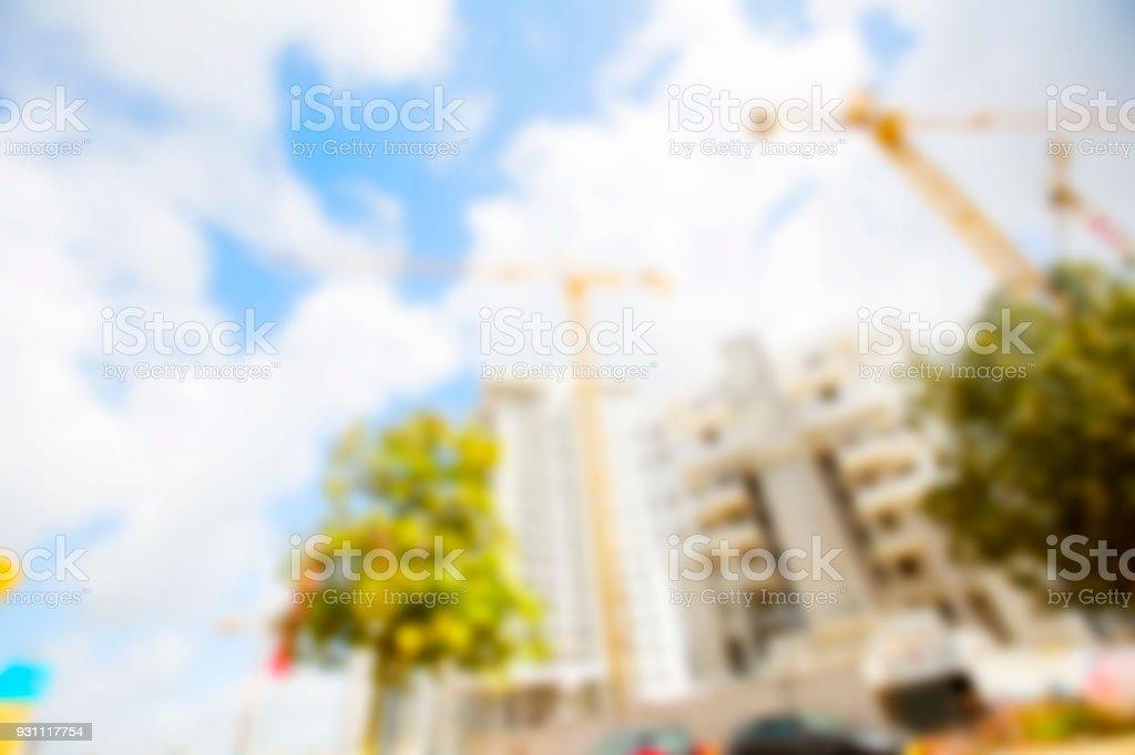 Arka plan bulanık. Bulanık Vinçler ve arka planda büyük binalar - Royalty-free Aciliyet Stok görsel
