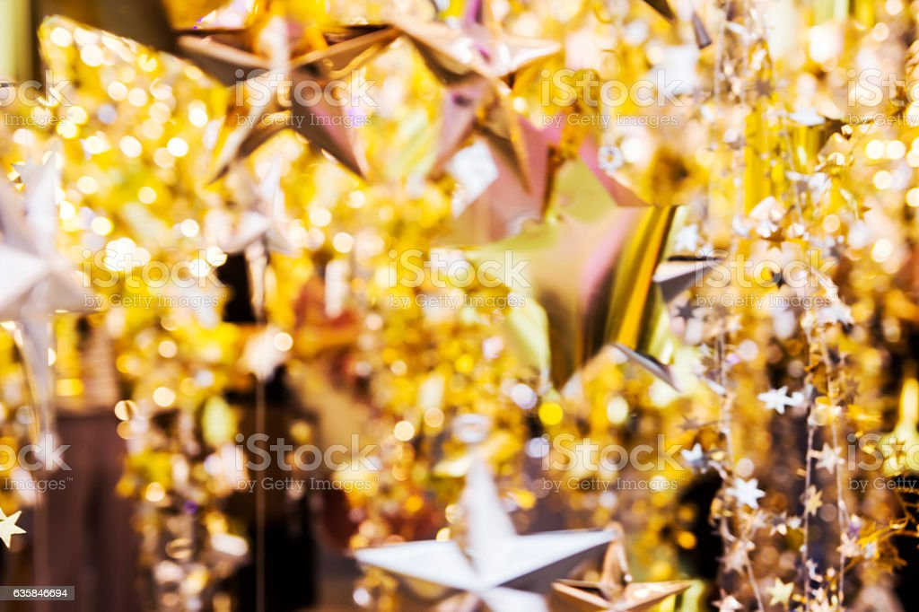 Abstract blurred background of christmas decoration stock photo