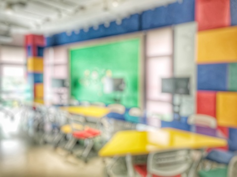831720990 istock photo Abstract blurred background of empty study creative room for undergraduate students for lap. Blurry view of study chairs and screen projector in classroom of university or campus with nobody. 902779594