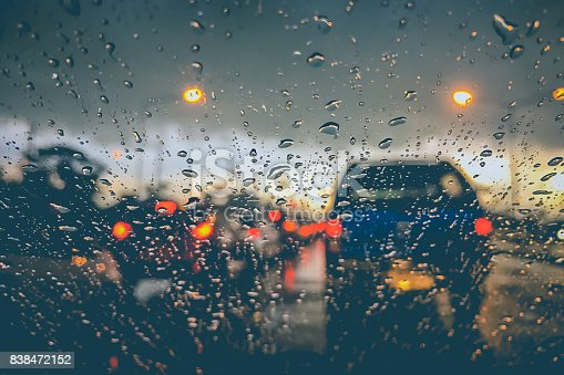 istock Abstract blurred background of traffic jam on heavy rain 838472152