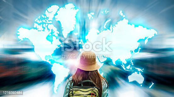 1141355850 istock photo Abstract blurred background of travel technology. Tourism industry digital transformation innovation to virtual augmented reality for futuristic holiday journey on coronavirus quarantine city lockdown 1219392484