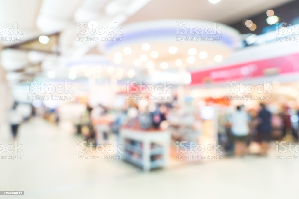 Abstract blurred background with bokeh in shopping mall, department store stock photo