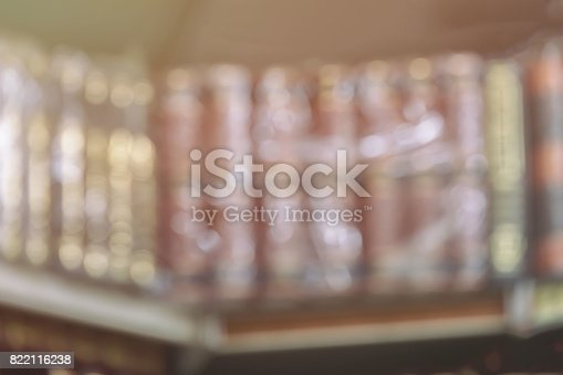 istock Abstract blurred background with imaginative literature, fiction on bookshelf, vintage picture 822116238