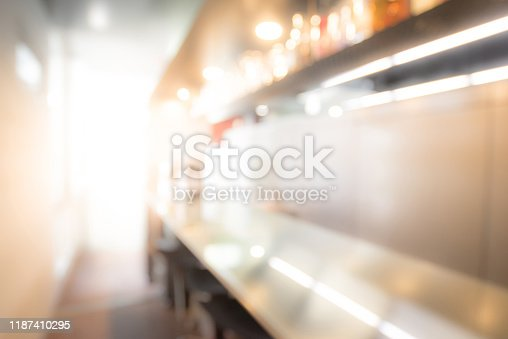 877010878 istock photo Abstract blurred bar counter interior background 1187410295