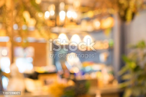 877010878 istock photo abstract blurred beautiful inside interior of modern restaurant nightclub retail background for design concept 1157239021