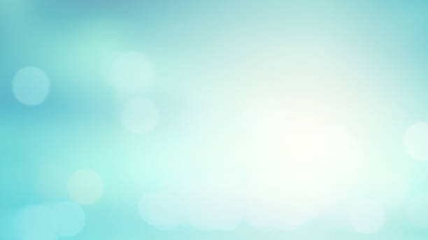 abstract blurred blue an teal color gradient background with shiny glowing light effect and bokeh for summer collection design element concept - saturated color stock pictures, royalty-free photos & images