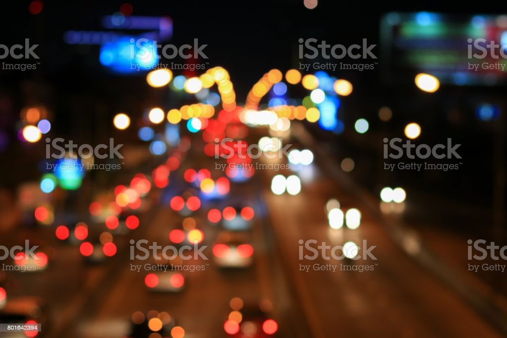 Abstract blurred bokeh in city night  colorful beautiful of traffic in Bangkok Thailand, with copy space stock photo