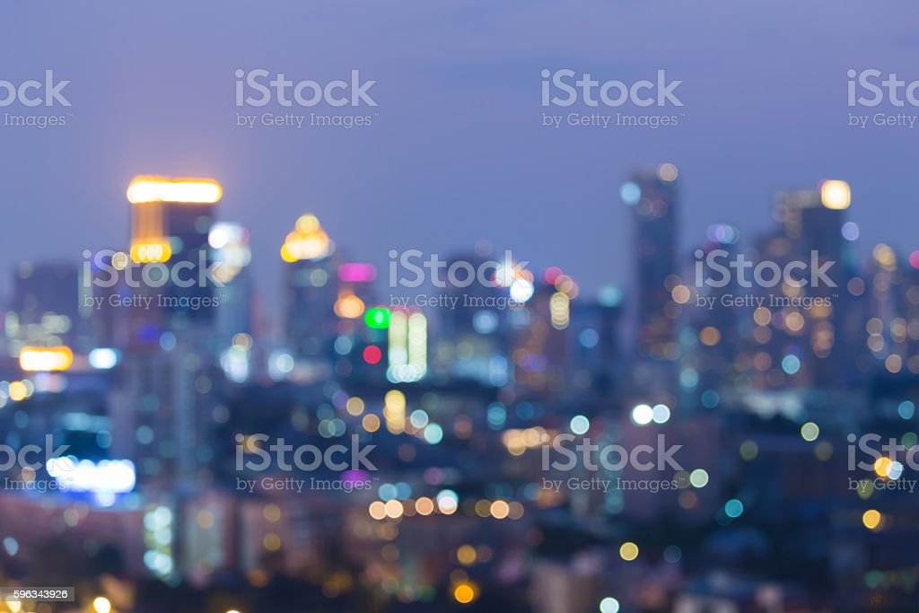 Abstract blurred bokeh lights, big city downtown night view royalty-free stock photo