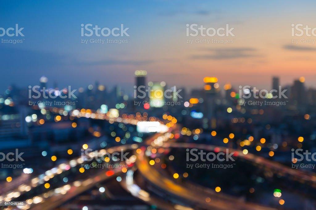 抽象模糊散景燈市和路交叉口圖像檔