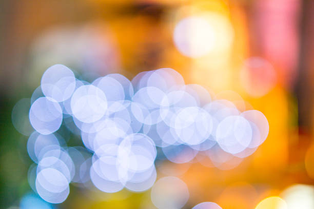 Abstract blurred  christmas tree in the shopping mall stock photo