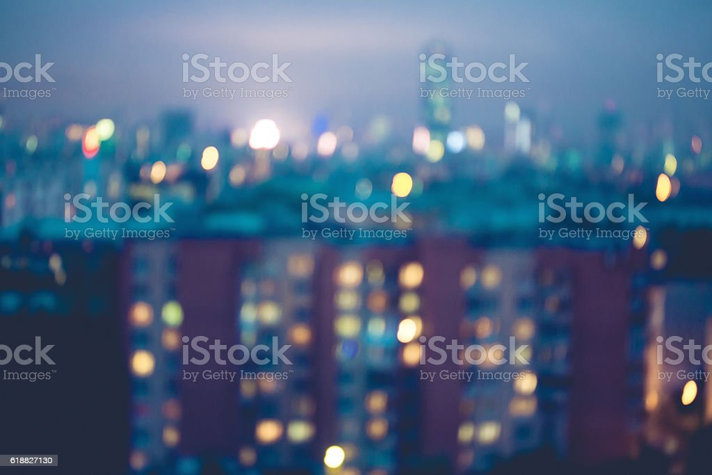 Abstract blurred city lights background stock photo