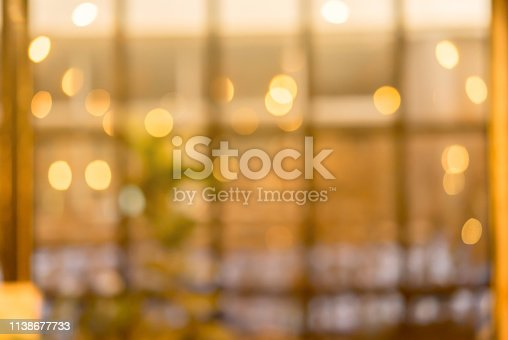 istock abstract blurred coffee cafe bar  in vintage sepia color tone background with spotlight interior for design ad,banner concept 1138677733