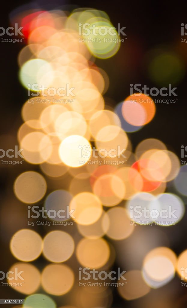 Abstract blurred colorful Bokeh, Abstract background colorful Bokeh at Night Traffic in Bangkok, Thailand. stock photo