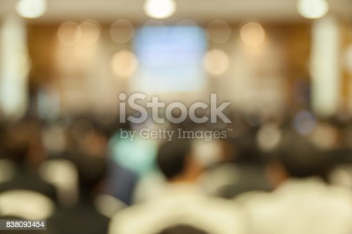 istock Abstract Blurred Conference Hall Seminar Room 838093454