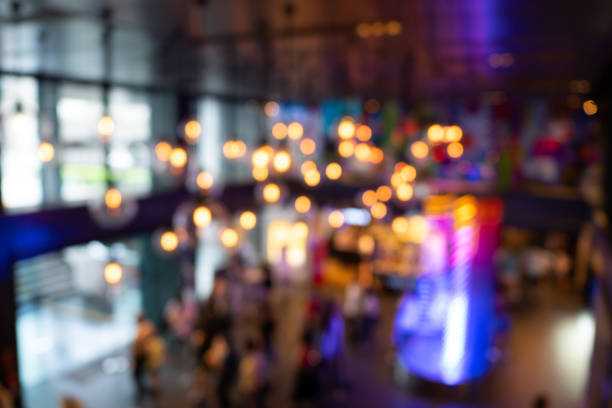 Abstract blurred decoration light in shopping mall stock photo