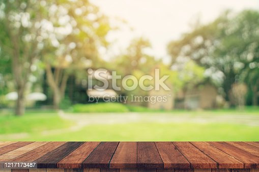 641254964 istock photo abstract blurred garden and green leaf with wooden table counter background for show , promote ,design on display concept 1217173487
