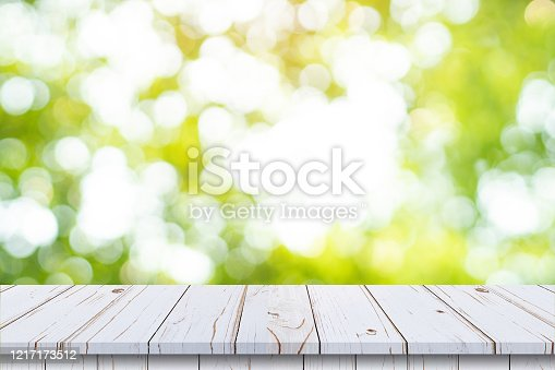 641254964 istock photo abstract blurred garden and green leaf with wooden table counter background for show , promote ,design on display concept 1217173512