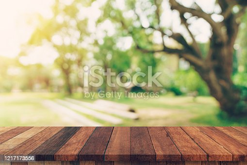 641254964 istock photo abstract blurred garden and green leaf with wooden table counter background for show , promote ,design on display concept 1217173556