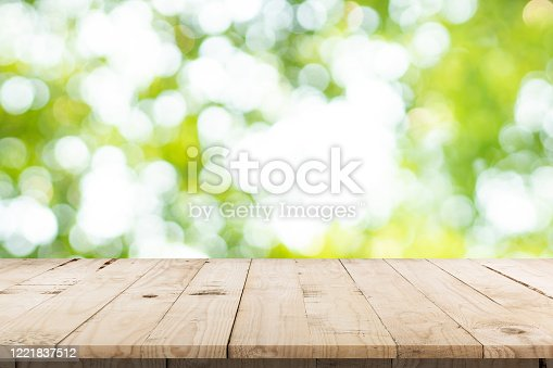 641254964 istock photo abstract blurred garden and green leaf with wooden table counter background for show , promote ,design on display concept 1221837512