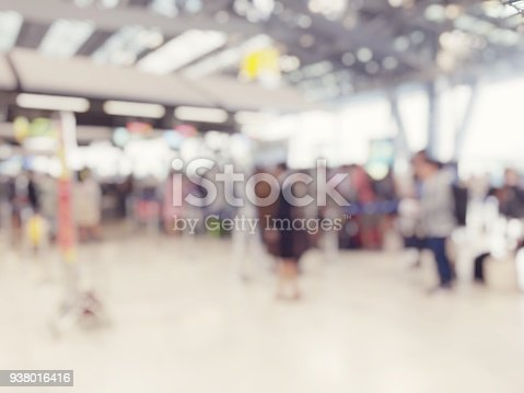 istock Abstract blurred image background of group people or arriving passengers with their suitcases and luggage walking in international  airport terminal, travelling or business concept. vintage tone. 938016416
