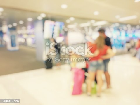 istock Abstract blurred image background of group people or arriving passengers with their suitcases holding luggage walking in international  airport terminal, travelling or business concept. vintage tone. 938016726