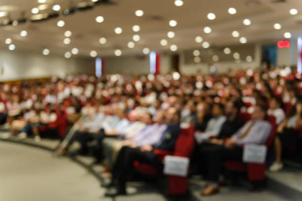 abstract blurred image of conference and presentation in the conference hall - meeting imagens e fotografias de stock