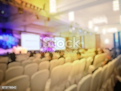 873776668 istock photo Abstract blurred image of people sitting in conference room for profession seminar with attendee, presenter and audience background, business & educaction concept, official new product launches 873776542