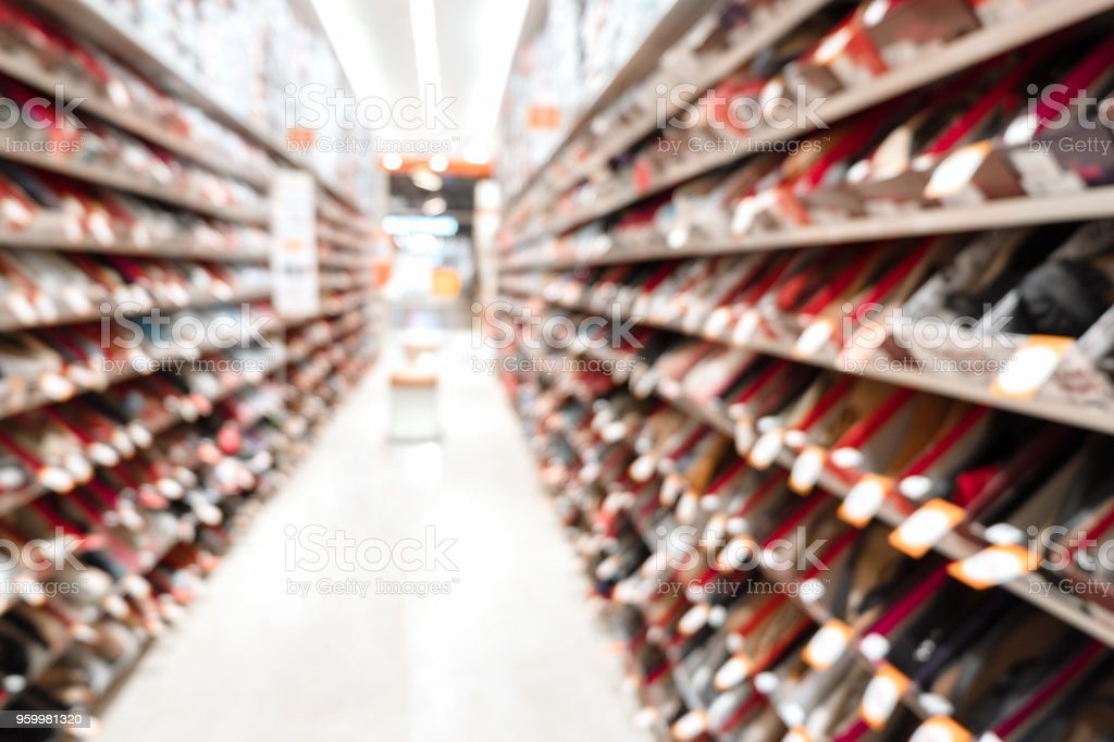 Abstract blurred image of shoes shop in shopping mall. stock photo