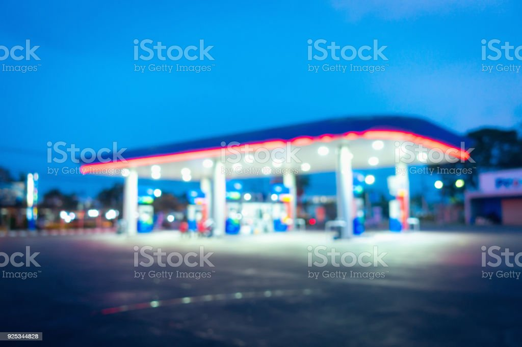 Abstract blurred in gas station at twilight, Fuel station, Abstract backgroundv stock photo