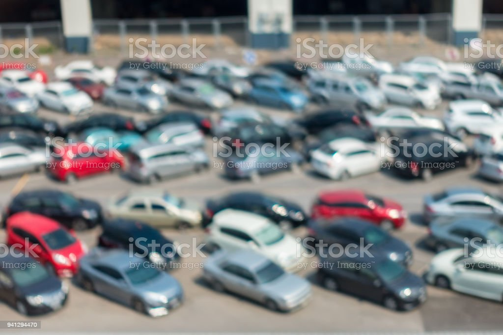 Abstract blurred in parking lot stock photo