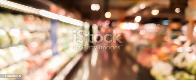istock abstract blurred inside interior of local supermarket corridor path with aisle distribution shelf in vegetable and fruit zone panoramic background design concept 1149098709
