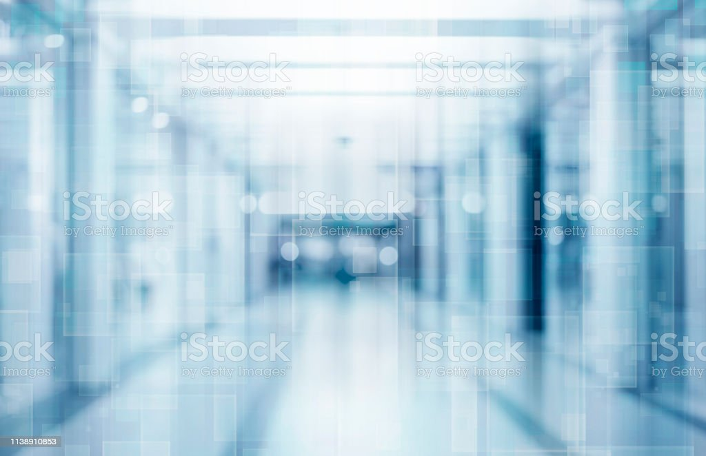Abstract blurred interior of corridor clinic background in blue color , blurry image - Стоковые фото Абстрактный роялти-фри