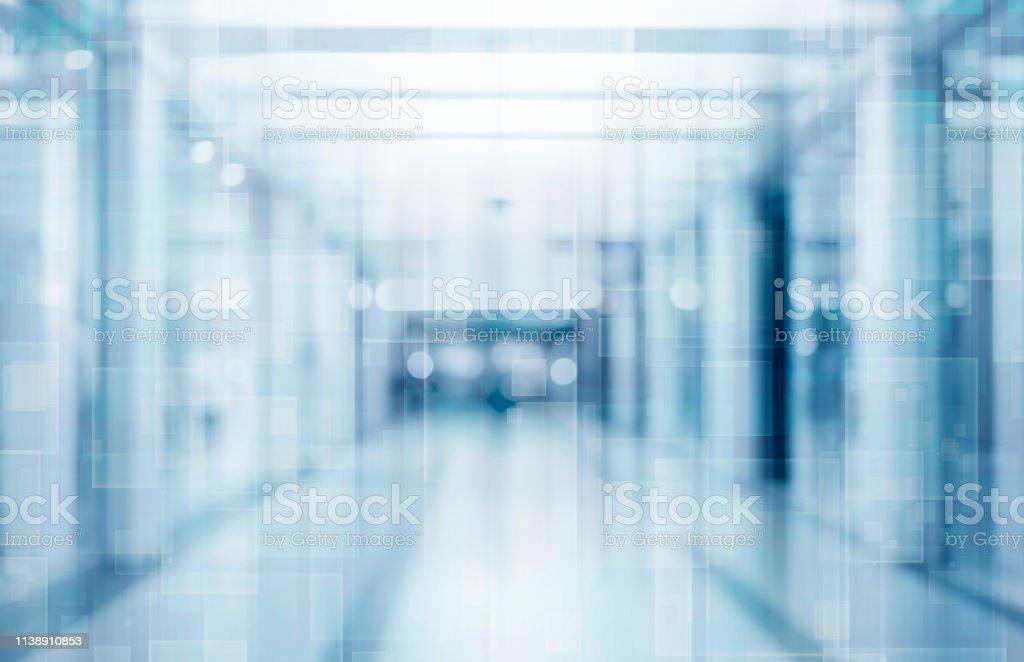 抽象模糊的走廊臨床背景在藍色, 模糊的圖像 - 免版稅乾淨圖庫照片