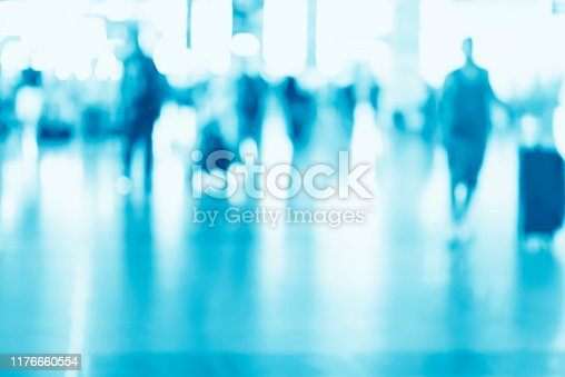 1047189958 istock photo Abstract blurred interior of corridor clinic background in blue color , blurry image 1176660554