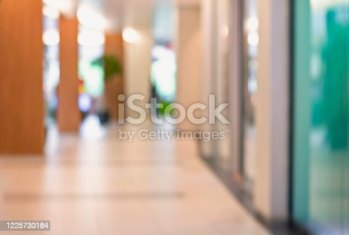 1138910853 istock photo Abstract blurred interior of corridor clinic background in blue color , blurry image 1225730184