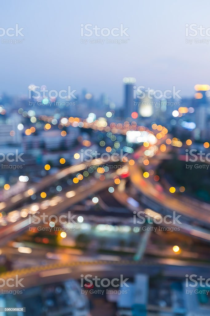 Abstract blurred lights city highway interchanged night view royalty-free stock photo