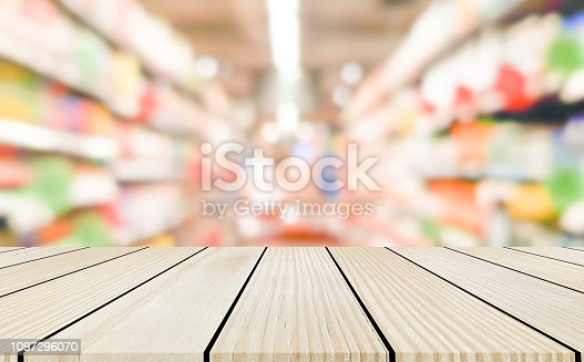 istock abstract blurred local  contemporary supermarket shelf with cream color wood panel plank perspective for show or advertise product on display backdrop concept. 1097296070