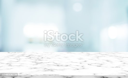 istock abstract blurred modern interior bathroom background with white marble pattern tabletop for show,ads,design product on display concept 1146008228