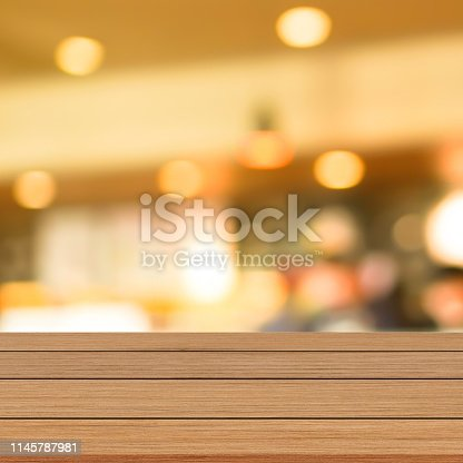 864907996istockphoto abstract blurred modern interior coffee cafe shop decorate with bulbs lamp light on ceiling and vintage wood counter table perspective for show, promote, advertise product on display montage concept 1145787981
