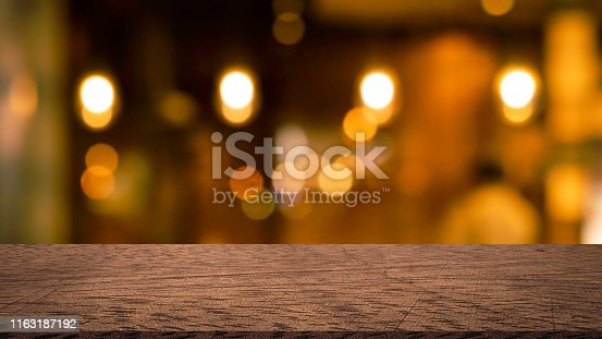 864907996istockphoto abstract blurred modern interior coffee cafe shop decorate with bulbs lamp light on ceiling and vintage wood counter table perspective for show, promote, advertise product on display montage concept 1163187192