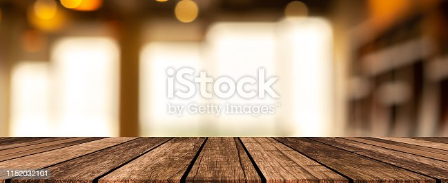 864907996istockphoto abstract blurred modern interior coffee cafe shop decorate with light on ceiling and vintage wood counter table panoramic perspective for show, promote, advertise product on display montage concept 1152032101