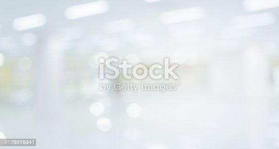 1068830604 istock photo abstract blurred modern interior of office hospital background with light form glass reflection building for presentation , banner design 1129816941